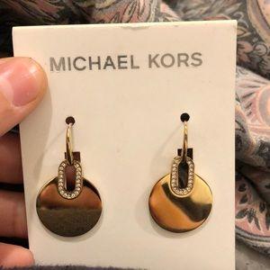 Gold Michael kors cityscape disk earrings